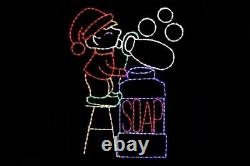 Animated Bubble Blowing Elf LED light metal wire frame Christmas display