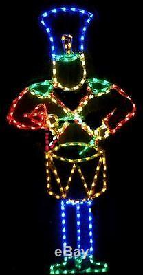 Animated Drumming Lg Toy Soldier Outdoor LED Lighted Decoration Steel Wireframe