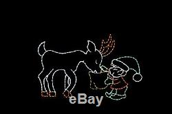 Animated Elf Feeding Young Reindeer LED light wire frame display decoration
