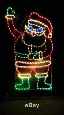 Animated Waving Santa Claus Outdoor LED Lighted Decoration Steel Wireframe