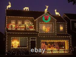 CGC 90cm Green & Red Bow Extra Large Pre lit LED Green Christmas Wreath Light
