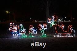 Christmas Animated Elves Loading Sleigh Outdoor LED Lighted Decoration Wireframe