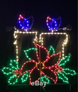 Christmas Candles Animated Flame Outdoor LED Lighted Decoration Steel Wireframe