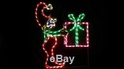 Christmas Elf with Gift Holiday Outdoor LED Lighted Decoration Steel Wireframe