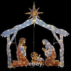 Christmas Nativity Scene Outdoor Lighted Clear Lights Yard Holiday Decor 72 Inch
