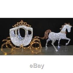 Christmas Pre-Lit LED Lights 58 in. Horse and Carriage Holiday Home Decor White