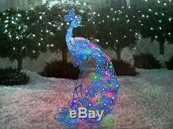 Christmas Sparkling LED Peacock Lights Outdoor Yard Sculpture Decor Holiday Home