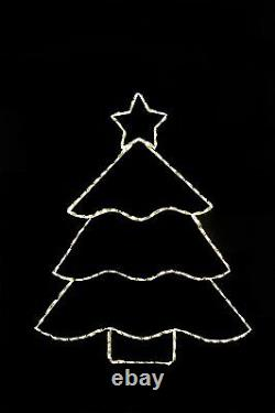 Christmas Tree Warm White LED lights metal wire frame outdoor display decoration