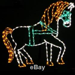 Christmas Victorian Horse & Sleigh Set Outdoor LED Lighted Decoration Wireframe
