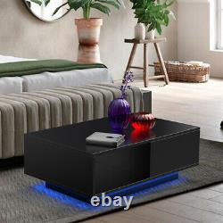 Coffee Table Rectangular Accent Cocktail Table Modern withStorage Drawer LED Light