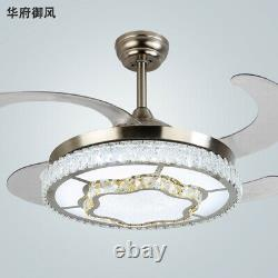 Crystal 42 Invisible Chandelier Ceiling Fan Light Retractable LED WithRemote USA