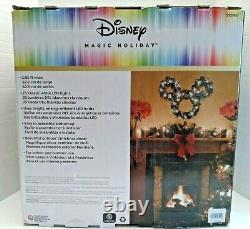 Disney Holiday Magic Mickey Mouse LED Lighted Wreath Christmas 2 Foot pinecones