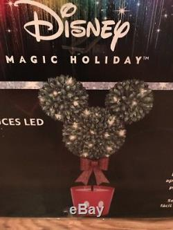 Disney Magic Holiday LED Lighted Mickey Mouse Topiary 3-feet Tall NEW