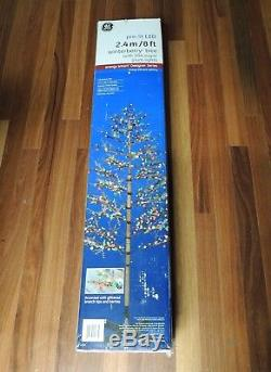 GE 8 Ft Winterberry Durable Colorful Christmas Tree with 504 Sugar Plum LED Lights