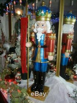 GIANT 41 INCH NUTCRACKER KING with BANNER STAFF TIMER LED LIGHTS CHRISTMAS RARE