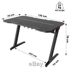 Gaming Desk Computer Table Z-Shaped with LED Light GTRACING Durable Desk Xmas