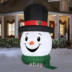 Gemmy 10 Ft Lighted Snowman Head Top Hat/Tophat Christmas Airblown Inflatable
