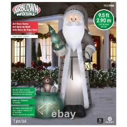 Gemmy 9.5 Ft Lighted Art Deco Silver Suit Santa Claus Christmas Inflatable