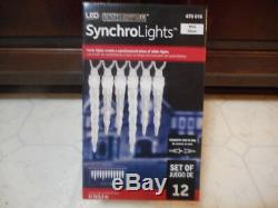 Gemmy Led Icicle Synchro Lights White 12 Ct New