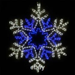 HUGE! 28 LED Lighted Snowflake Blue & White Christmas OUTDOOR Yard Decoration