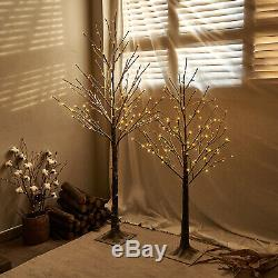 Hairui Lighted Twig Brown Tree 2 Pack Snow Flocked Christmas Holiday Decorations