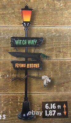 Halloween Gemmy 6 ft Lamp Post Witch Way Lighted Sign Broom Haunted Prop NEw