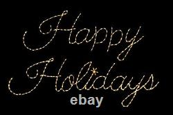 Happy Holidays Sign LED light display metal wireframe outdoor Christmas Decor