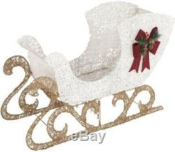 Home Accents Holiday Sleigh Set 60 in. PVC Grapevine Deer 280 LED Lights Pre-Lit