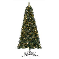 Home Heritage Cashmere 7 Foot Artificial Christmas Half Tree with LED Lights
