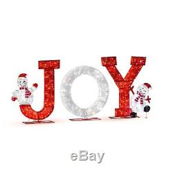 Huge Led Red White Twinkling Joy Sign Display 400 Lights Outdoor Christmas Decor