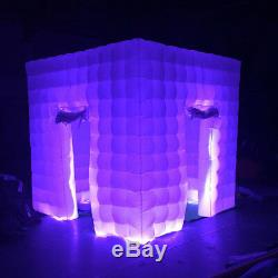 Inflatable 2 Door 2.5M LED Light Photo Booth Air Tent Cube Party Wedding Xmas US
