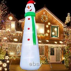 Inflatable giant snowman 12 Ft, Christmas decoration with LED light ties Yard