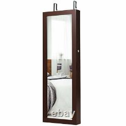 Jewelry Mirrored Cabinet Armoire Organizer Storage with LED Lights Christmas Gift