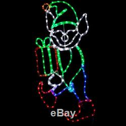 LED Christmas Elf with Present Outdoor Rope Light Holiday Yard Decoration NEW