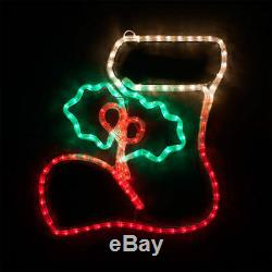 LED Christmas Rope Light Stocking with Holly Outdoor Indoor Window Yard Decor