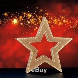 LED Gold Tinsel Star 366 Lights Indoor Outdoor Xmas Decoration 3ft 5 104.1cm