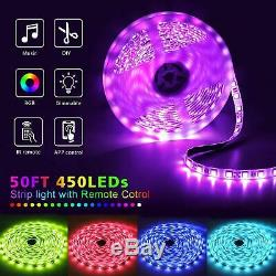 LED Light Strip Music Sync Changing Rope Christmas Lights with 20-Key Remote 50Ft