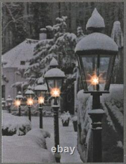 LED Light up Canvas Pictures 40cm x 30cm Wall Hanging Art Street Lanterns & Snow