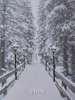 LED Light up Canvas Pictures 40cm x 30cm Wall Hanging Snow Path & Lanterns
