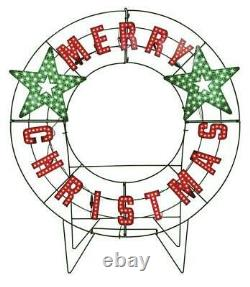 LED Lighted Colorful Red & Green 40 MERRY CHRISTMAS Outdoor Holiday Yard Sign