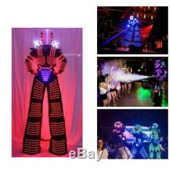 LED Robot Costume Suit Illuminated Party Show Night Lights Stilts Xmas Clothes