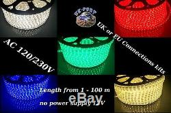 LED Strip Lights Rope 220V 230V 60pcs 3528 SMD/m Waterproof + power cord FREE