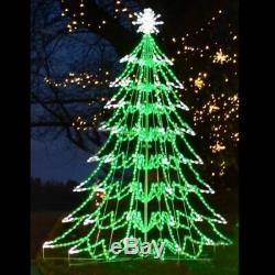 Large 3D Christmas Tree Outdoor Holiday LED Lighted Decoration Steel Wireframe