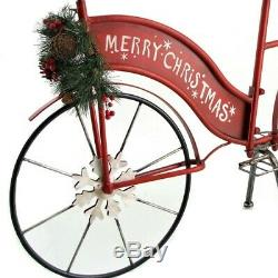 Large MERRY CHRISTMAS Iron Bike Bicycle Indoor / Outdoor Decor with Lighted Wreath