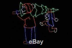 Life Size Animated Bringing Home the Tree LED metal frame outdoor light display