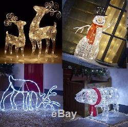 Light Up LED Christmas Reindeer Snowman Indoor Outdoor Acrylic Decoration