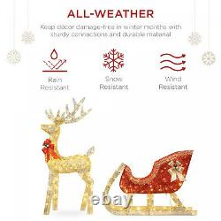 Lighted Christmas Reindeer and Sleigh Outdoor Decor Set with LED Lights, ELEGANT