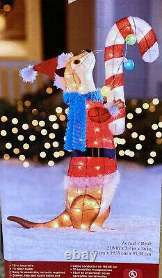 Lighted Holiday Living 36 Otter Candy Cane Christmas Hard Tinsel Sculpture