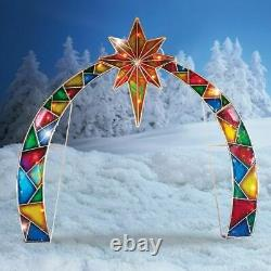 Lighted Outdoor Arch with Star of Bethlehem Christmas Nativity Scene Decoration
