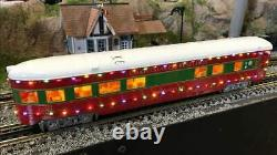 MTH 30-68133 Christmas 2-Car 60' Streamlined Sleeper/Diner withLED Lights